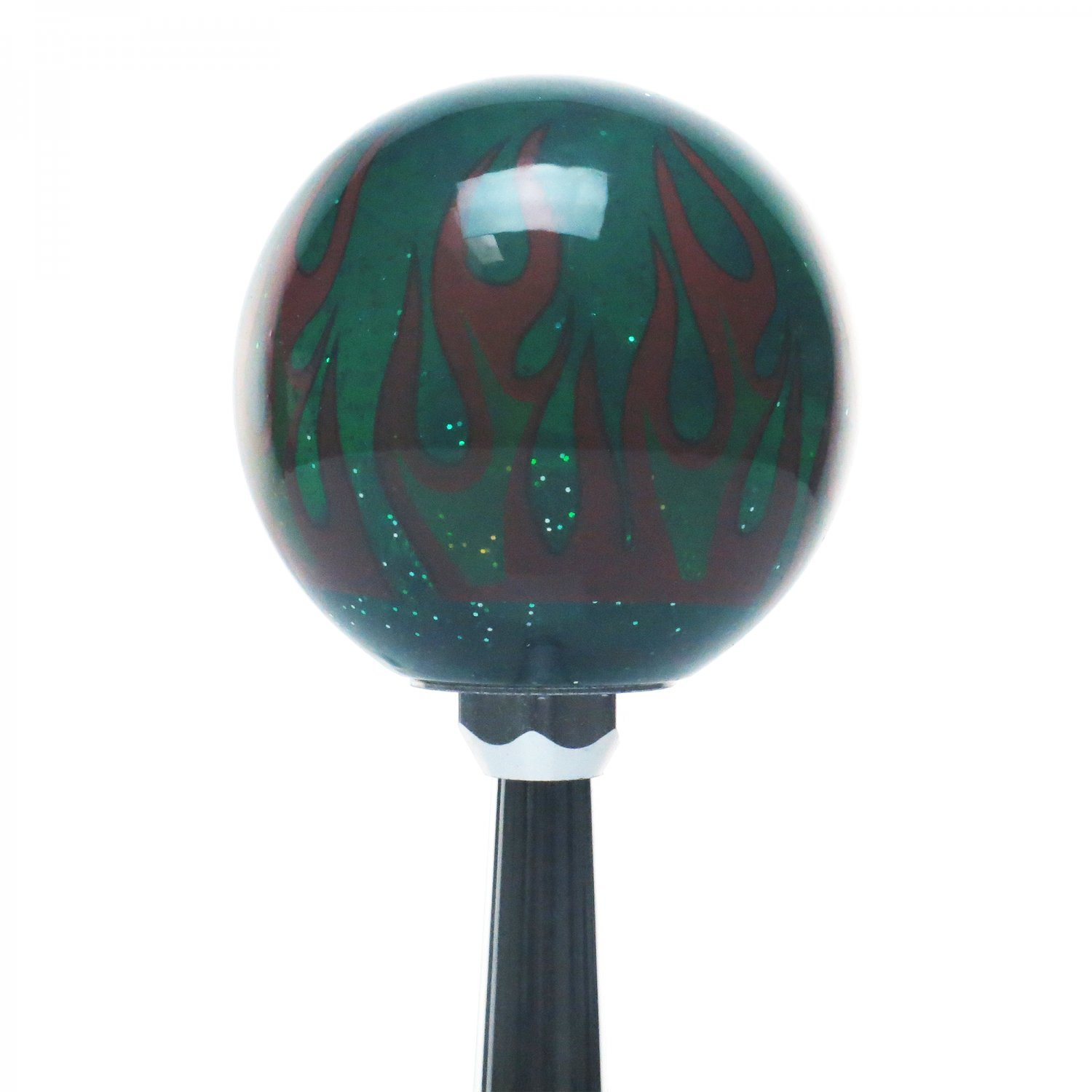 American Shifter 300957 Shift Knob Yellow Garage Built Green Flame Metal Flake