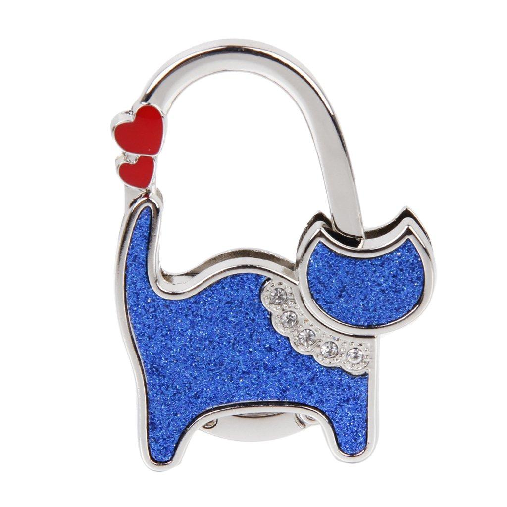 Accroche Sac Porte-Sac Crochet de Sac à Main Pliable Forme de Chat (Bleu)