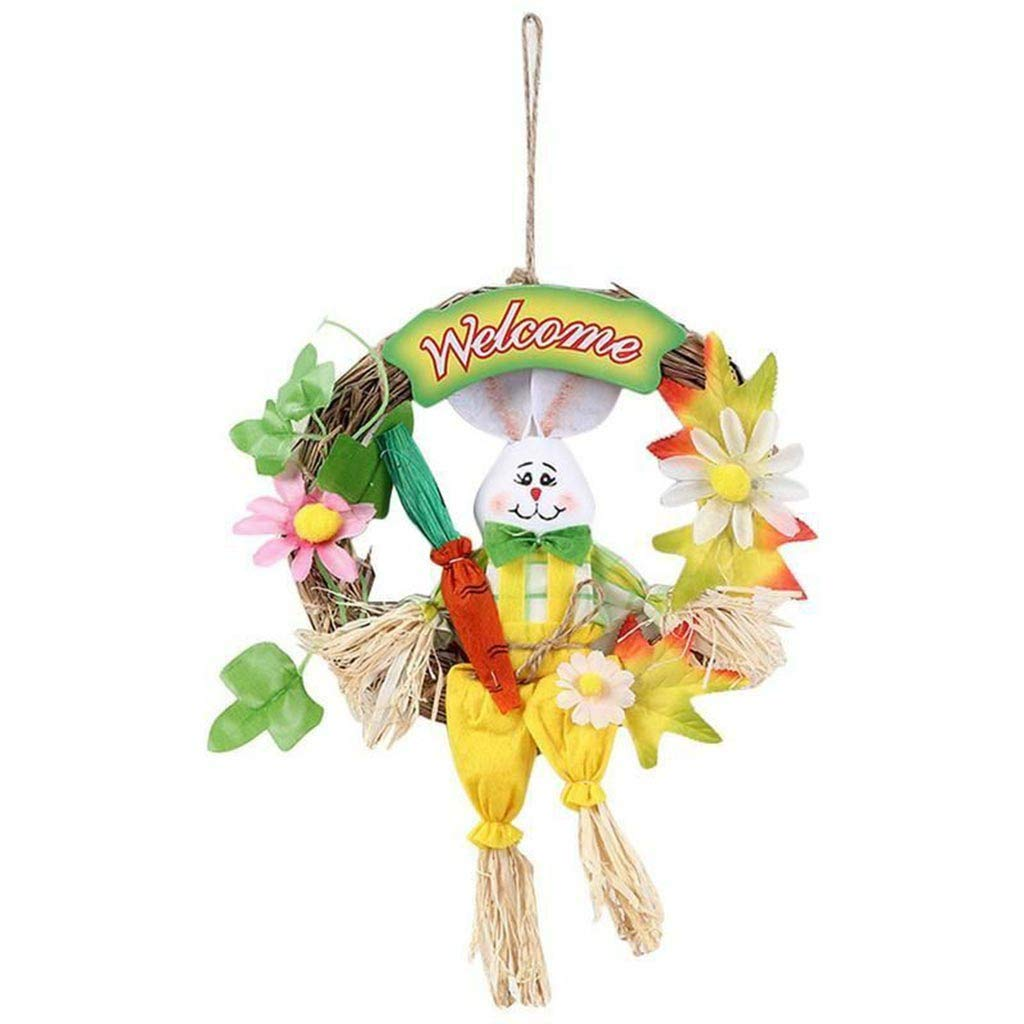 HomeMals Creative Easter Bunny Wreath Scarecrow Pendant Wall Door Hanging Decoration Home Decor