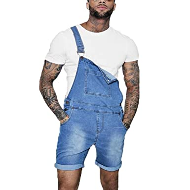 8048e19fc517 shopping denim Bib Overalls Shorts Mens Dungaree Shorts in Denim Slim Fit  (Small, Blue