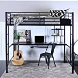 WE Furniture Full Size Metal Loft Bed with Workstation, Back