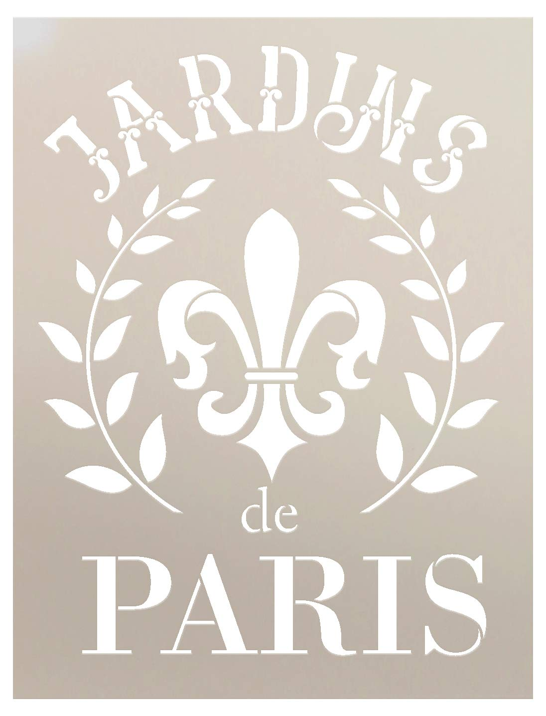 """Jardins De Paris Stencil by StudioR12   Wreath & Fleur French Word Art - Reusable Mylar Template   Painting, Chalk, Mixed Media   Use for Crafting, DIY Decor - STCL1415 (8.5"""" x 11"""")"""