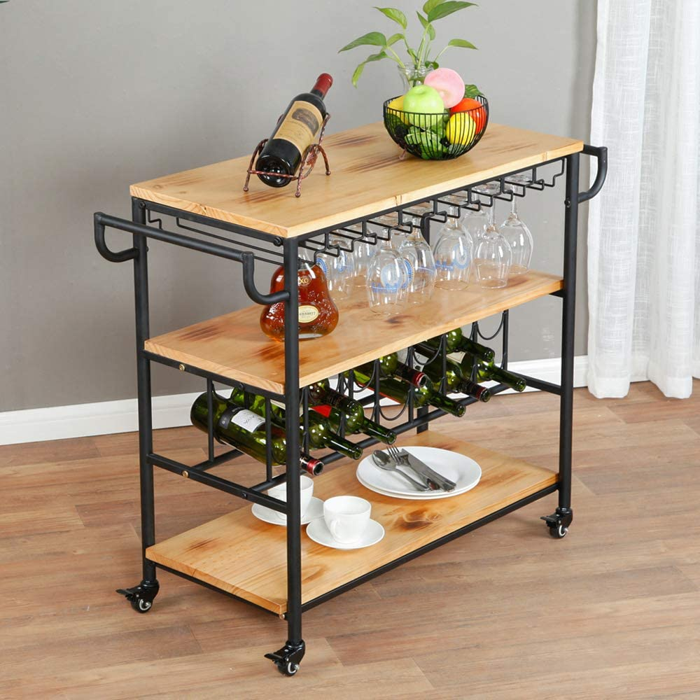 WGX Design For You Industrial Indoor or Outdoor Metal Wood Bar Serving Cart on Wheels Kicthen Bar Dining Room Tea Wine Holder Serving Cart Furniture
