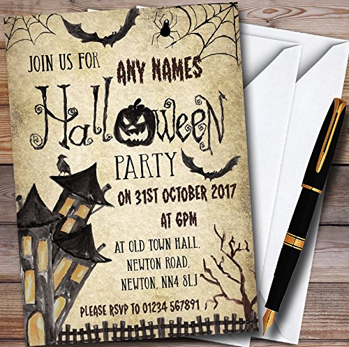 Vintage Haunted House Personalized Halloween Party Invitations