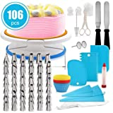 Cake Decorating Kit, lesgos 106 PCS Baking Supplies With 11 Inch Cake Turntable, Icing Tips, Cake Spatulas, Pastry Tools…