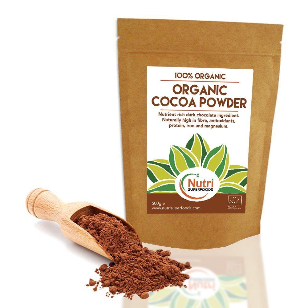 Cacao Orgánico en Polvo, Chocolate Negro Nutritivo y Vegano, Superalimento de Alta Calidad, Rico en Magnesio, Libre de azúcar, Ideal para preparar platos, ...
