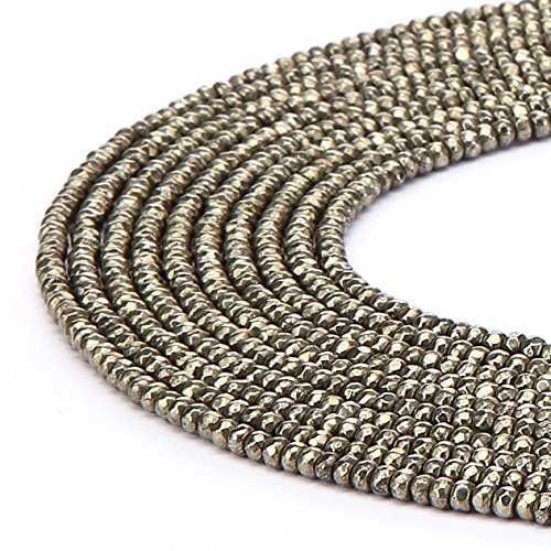 (jennysun2010 2x3mm Non-Magnetic Pyrite Color Hematite Gemstone Rondelle Spacer Beads 15.5'' Inches Faceted 1 Strand for Bracelet Necklace Earrings Jewelry Making Crafts Design Healing)