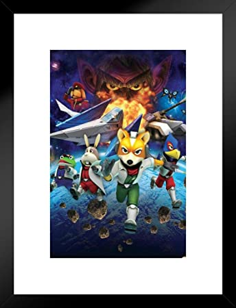 Pyramid America Star Fox Space Battle Fox Mccloud Arwing Super Nintendo 64 Gamecube Wii U Characters Matted Framed Poster 20x26 Inch