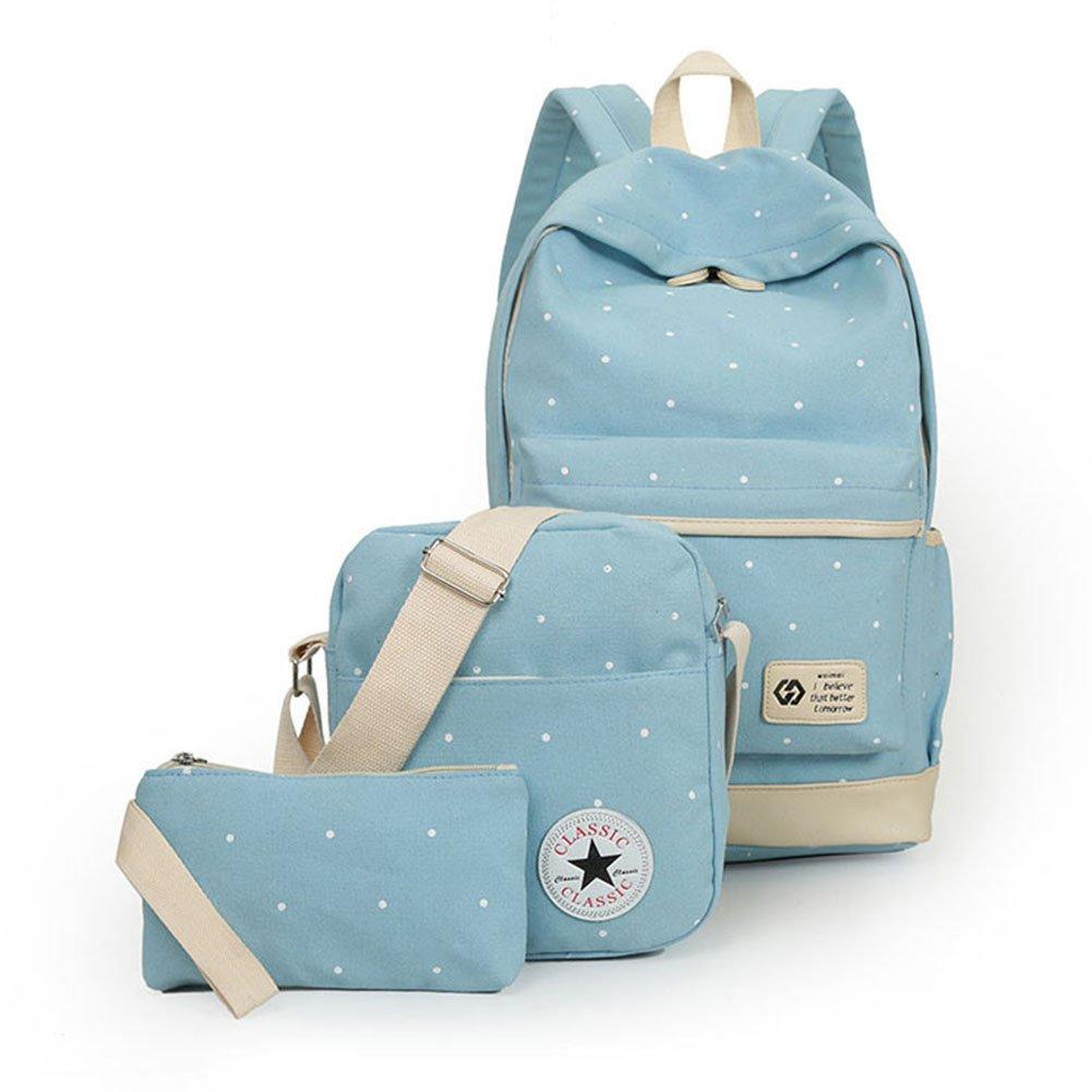Girls' Canvas School Backpack Set 3 Pieces School Bags Set for Teenage Girls Casual Daypack/Shoulder Bag/Pencil Case (Black)
