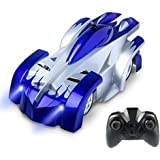 Tuptoel Wall Climbing RC Car 2.4 Ghz Radio Remote Control Car Toys Rechargeable Sport Racing Vehicle Boys Girls Gift Gravity 360°Rotating Electric Stunt Car Blue
