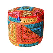 Ottoman Pouf Cover Indian Embroidered Mirror Work Ottomans Pouffe Covers Home Décor Living Room Foot Stool Chair Floor Pillows Vintage Cushion Cover By Rajrang
