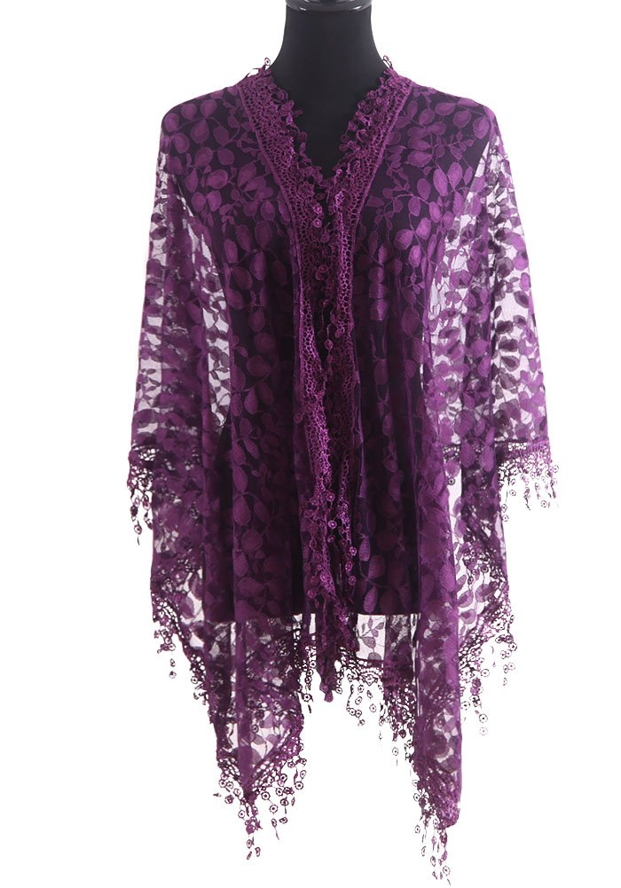 MissShorthair Womens Lightweight Leaf Lace Scarfs with Fringes