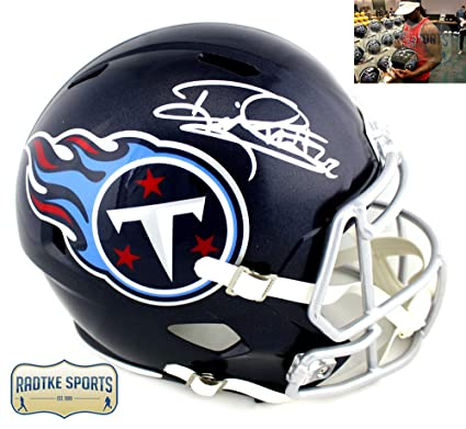 Derrick Henry Autographed Signed Tennessee Titans Riddell Full Size NFL Blue  Speed Helmet 797f0a428