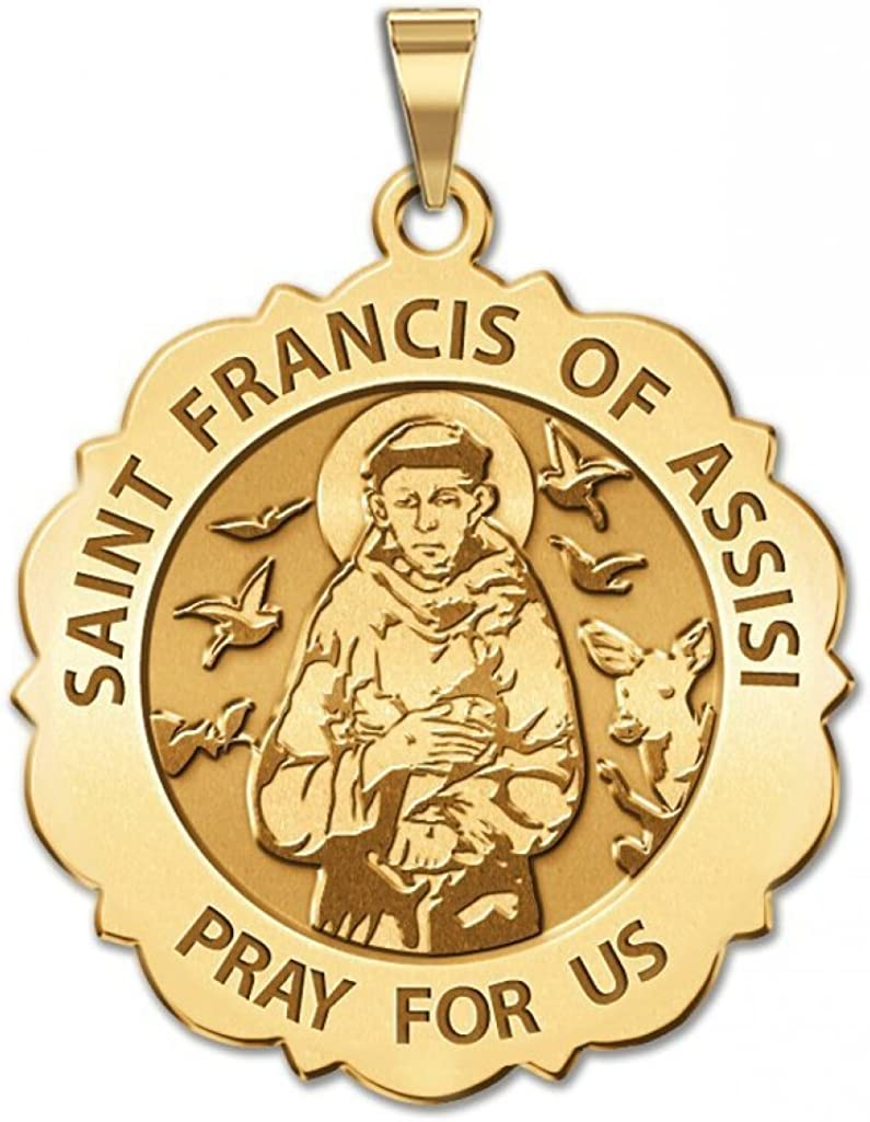 PicturesOnGold.com Saint Francis of Assisi Scalloped Round Religious Medal