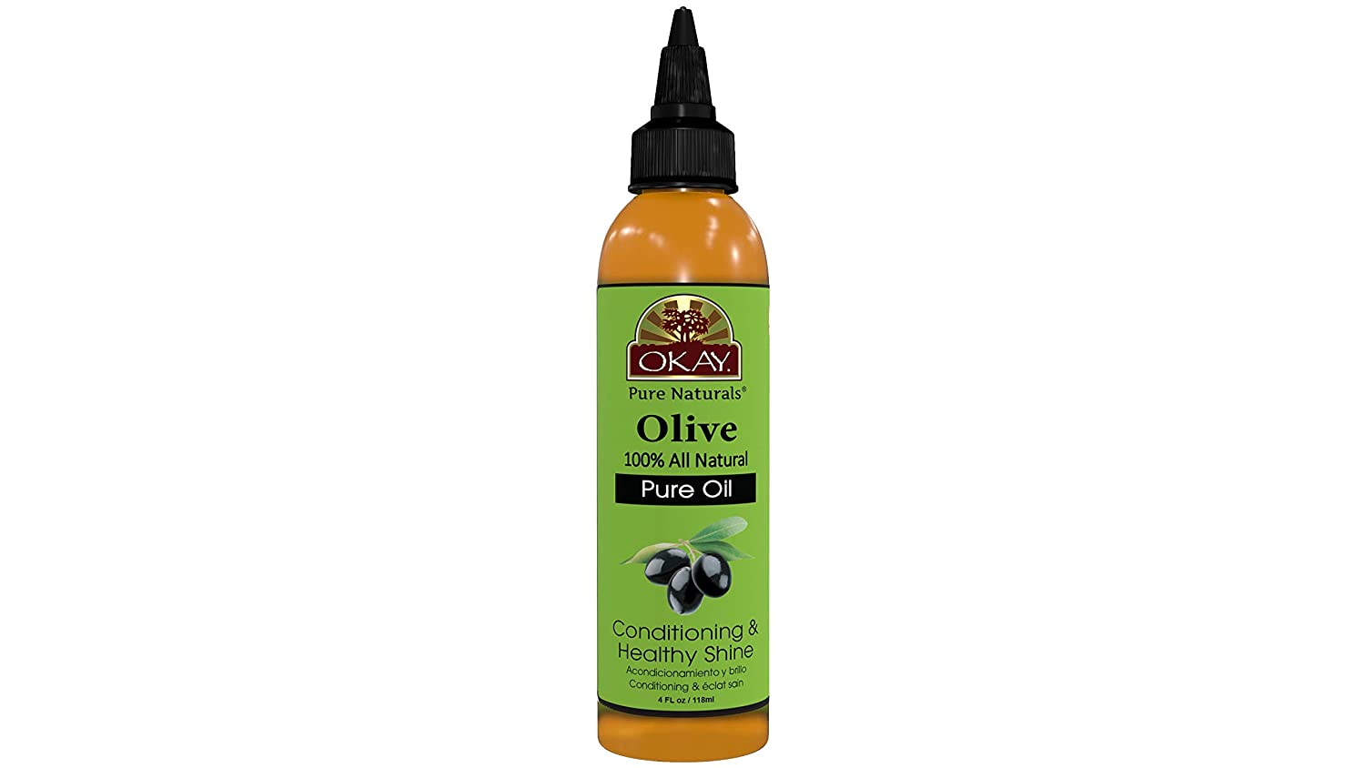 OKAY | 100% Pure Olive Oil | For All Hair Textures & Skin Types | Nourish, Strengthen & Replenish Elasticity | Deep Conditioning | All Natural | 4 Oz