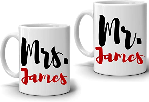 Personalised Christmas Mr ans Mrs Couple Set of two Mugs Friend Gift Present