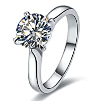 2CT Brand Ring Classic Prongs Setting NSCD Simulate Diamond Ring Engagement Solitaire Round Ring for Women