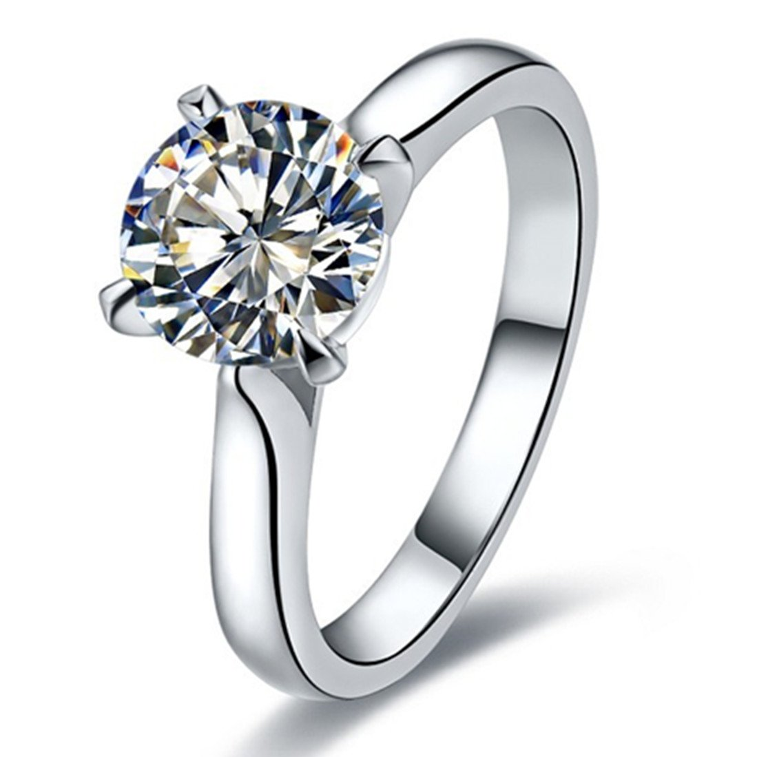 2CT Brand Ring Classic Prongs Setting NSCD Simulate Diamond Ring Engagement Solitaire Round Ring for Women 3MJEWELRY 3M Jewelry SRMJZ0224