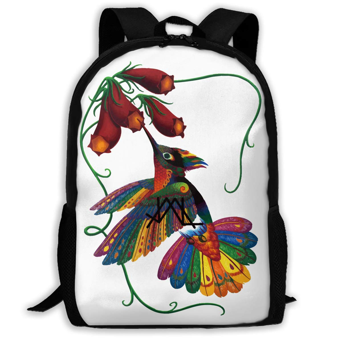 qihaoshangmao Backpacks Boy's Shoulder Bag Bookbags School Season Humming Bird Creative Painting Traveling Bags