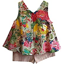 LOliSWan Girls Outfit Clothes Floral Vest T-Shirt+Shorts Pants Outfits