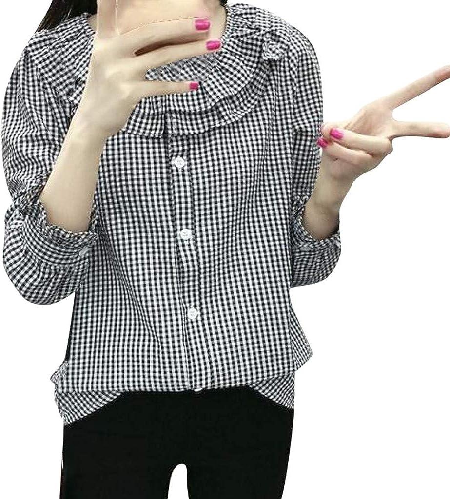 Sinwasd Camisa clásica de cuadros con botones de cuello ...
