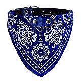 Hpapadks Collar Neckerchief Adjustable Pet Dog Puppy Cat Neck Scarf Bandana Collar M (M, Blue)