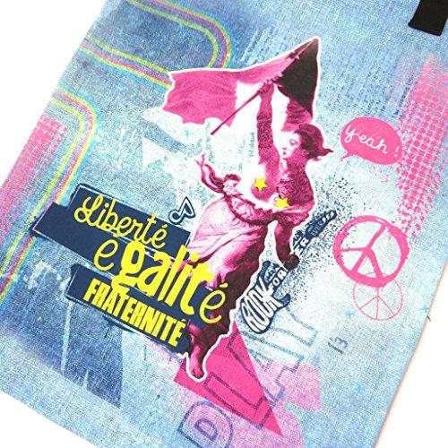 Shopping bag Liberté, Egalité, Fraternité Relookéblu - 43x34 cm.
