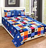 Home Elite Dynamic Checks Print 124 TC Cotton Double Bedsheet with 2 Pillow Covers - Geometric, Red