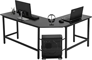 Computer Desk L Shaped Gaming Desk Corner Office Desk PC Wood Home Large Work Space Study Desk Workstation,Black