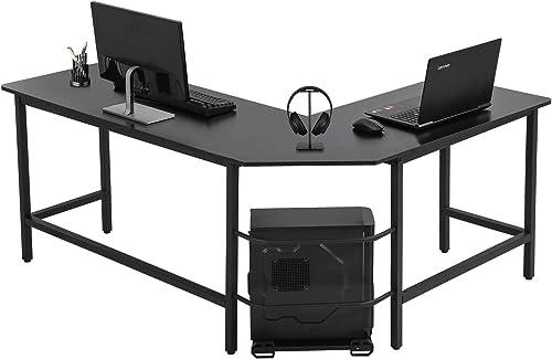 Computer Desk L Shaped Gaming Desk Corner Office Desk PC Wood Home Large Work Space Study Desk Workstation Black