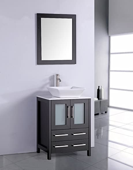 Legion Furniture WA7824E 24u0026quot; Artificial Stone Top Vessel Sink Bathroom  Vanity With Matching Framed Mirror