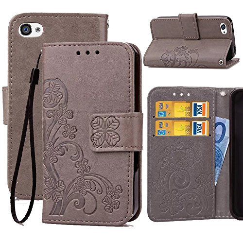 iPhone 4s Wallet Case,4S Wallet Flip Case,Wild Wolf Flower [Clover] Wallet Case,PU Leather Case,Credit Card Holder,Flip Cover Skin for iPhone 4/4s,Grey (I Phone 4s Cases With Card Holder)