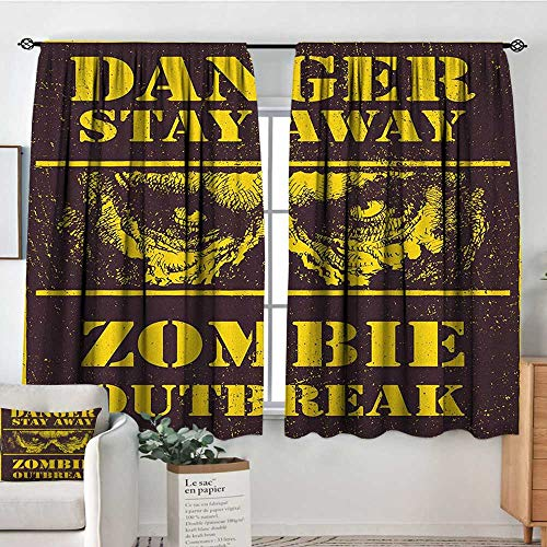 Theresa Dewey Waterproof Window Curtain Zombie,Danger Stay Away Outbreak Message Monster Warning Sign Graphic Design, Chestnut Brown Yellow,Blackout Draperies for Bedroom ()