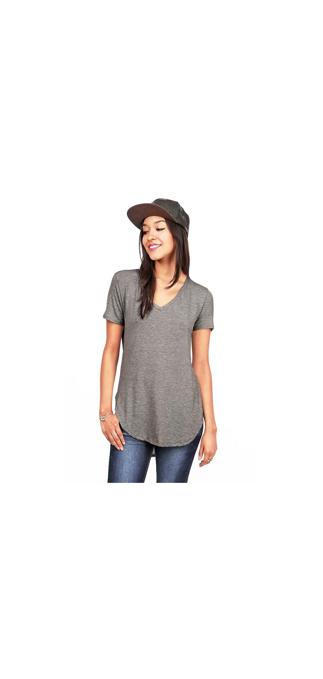 Women's Oversize Stretchy V-neck Tee