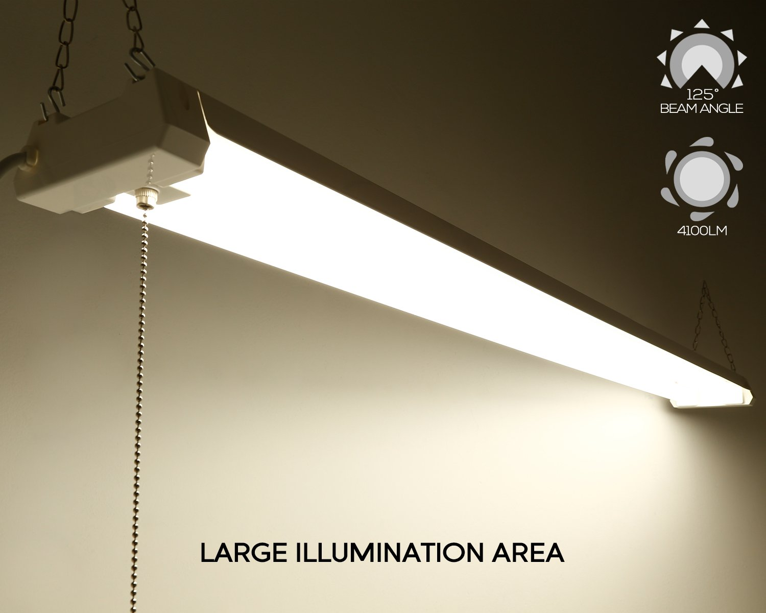 4ft 40w Linkable Led Utility Shop Light 4100 Lumens Energy Star Wiring Fixtures In Series Google Search Etl Listed Double Integrated Ceiling Fixture 4000k Cool White Pull Cord Switch