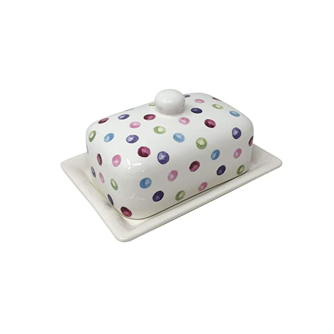 "5X6.75X4.75/"" MULTI SPOTS PINK BLUE PURPLE RED CREAM BUTTER DISH 13X17X12CM"