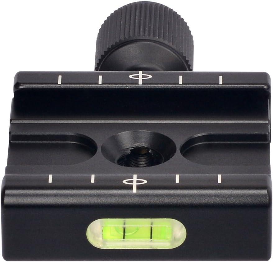 Aluminium 50mm QR Clamp 3//8 w 1//4 Adapter /& Level Arca-Swiss Compatible for Tripod Head Quick Release