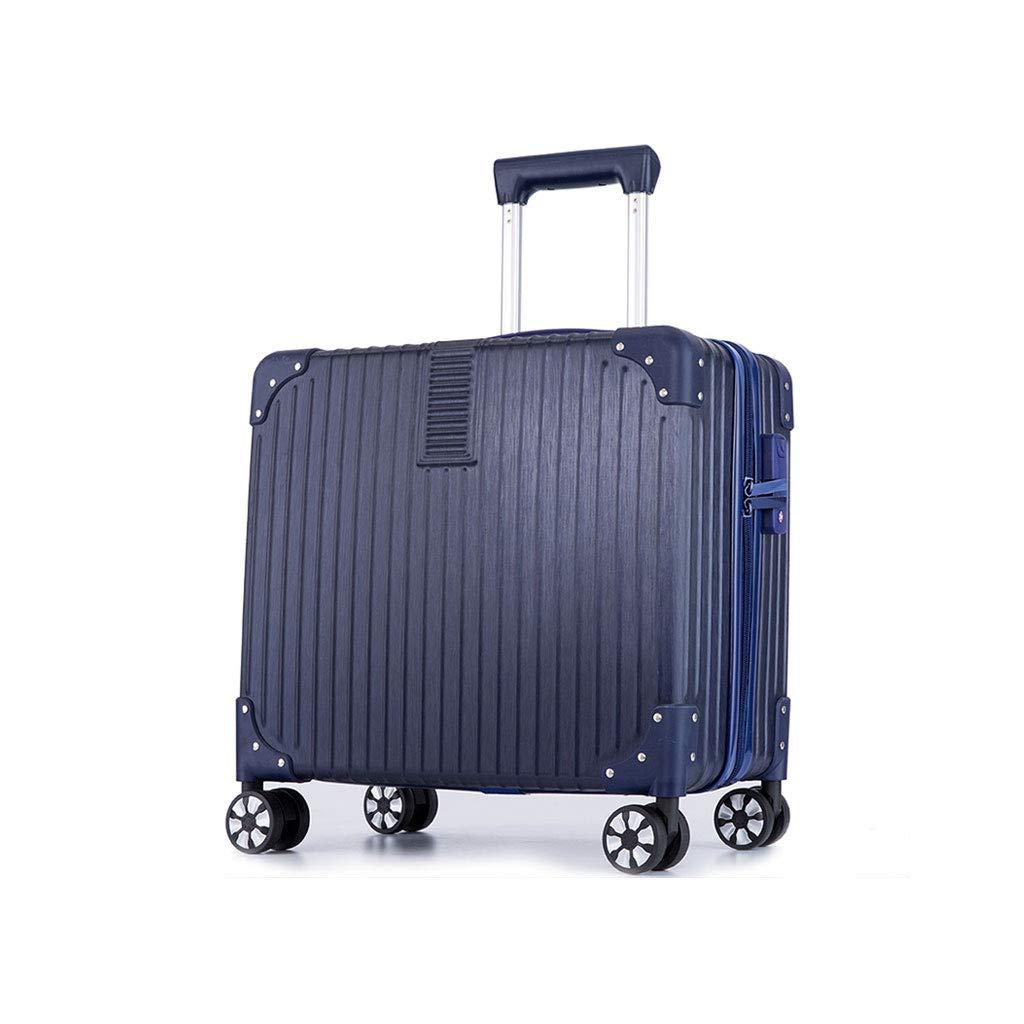 軽量で柔軟性のあるABSハードシェルトラベルトロリーキャビン荷物スーツケースを持ち運ぶ - 調節可能なハンドルを持ち運ぶ360°回転ホイール 39*24*43cm Dark blue B07MPY8R8V