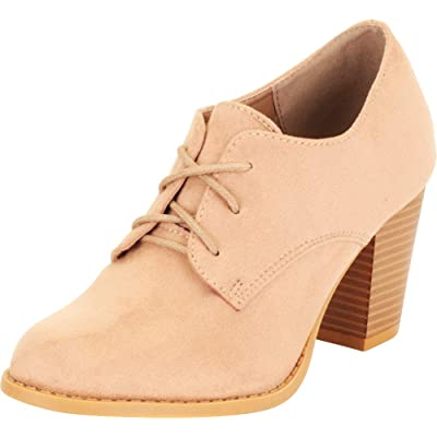 Cambridge Select Women's Almond Toe Lace-Up Chunky Stacked Block Mid Heel Oxford | Oxfords