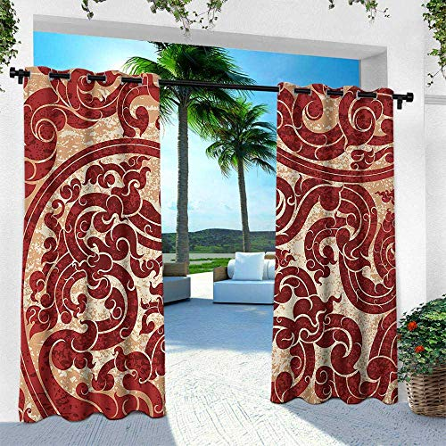 Hengshu Antique, Outdoor Curtain for Patio,Outdoor Patio Curtains,Thai Culture Vector Abstract Background Flower Pattern Wallpaper Design Artwork Print, W120 x L84 Inch, - Wallpaper Bella Stripes