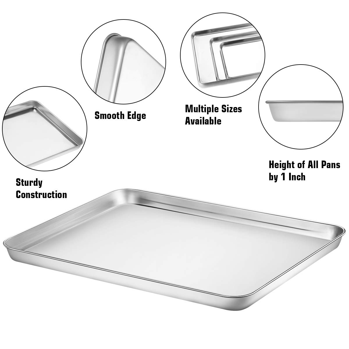 Wildone Baking Sheet with Silicone Mat Set, Set of 6 (3 Sheets + 3 Mats), Stainless Steel Cookie Sheet Baking Pan with Silicone Mat, Non Toxic & Heavy Duty & Easy Clean by Wildone (Image #2)