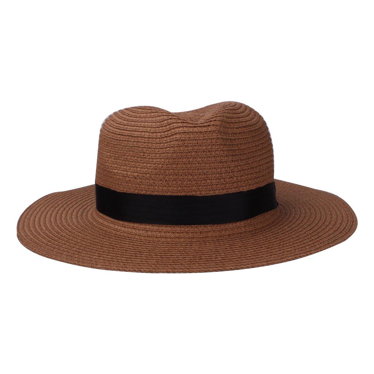 bca8529cd0ad6 YOPINDO Sombrero de paja estilo Fedora de Panamá Sombrero de ala de ala  ancha plegable unisex