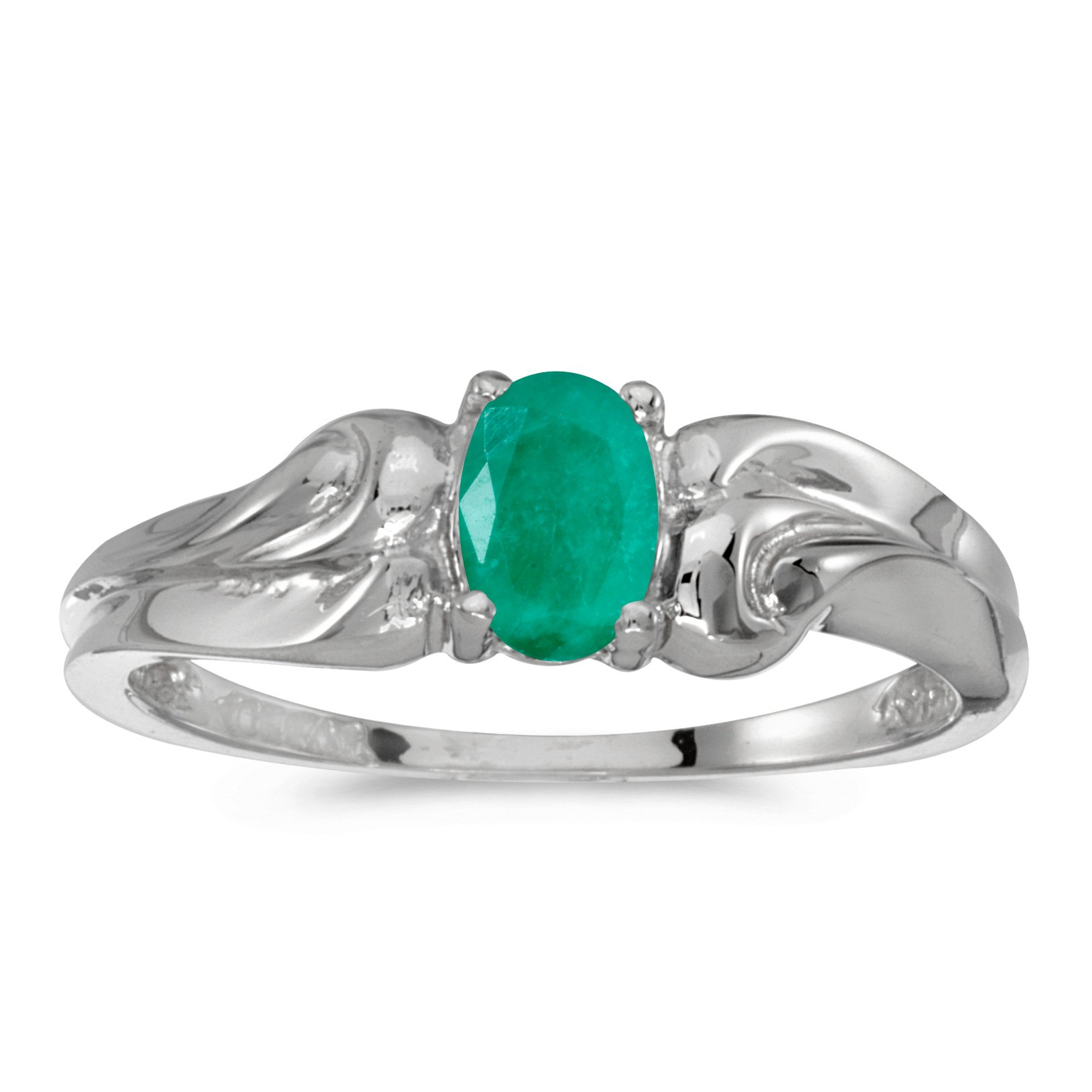 14k White Gold Oval Emerald Ring (Size 8.5)