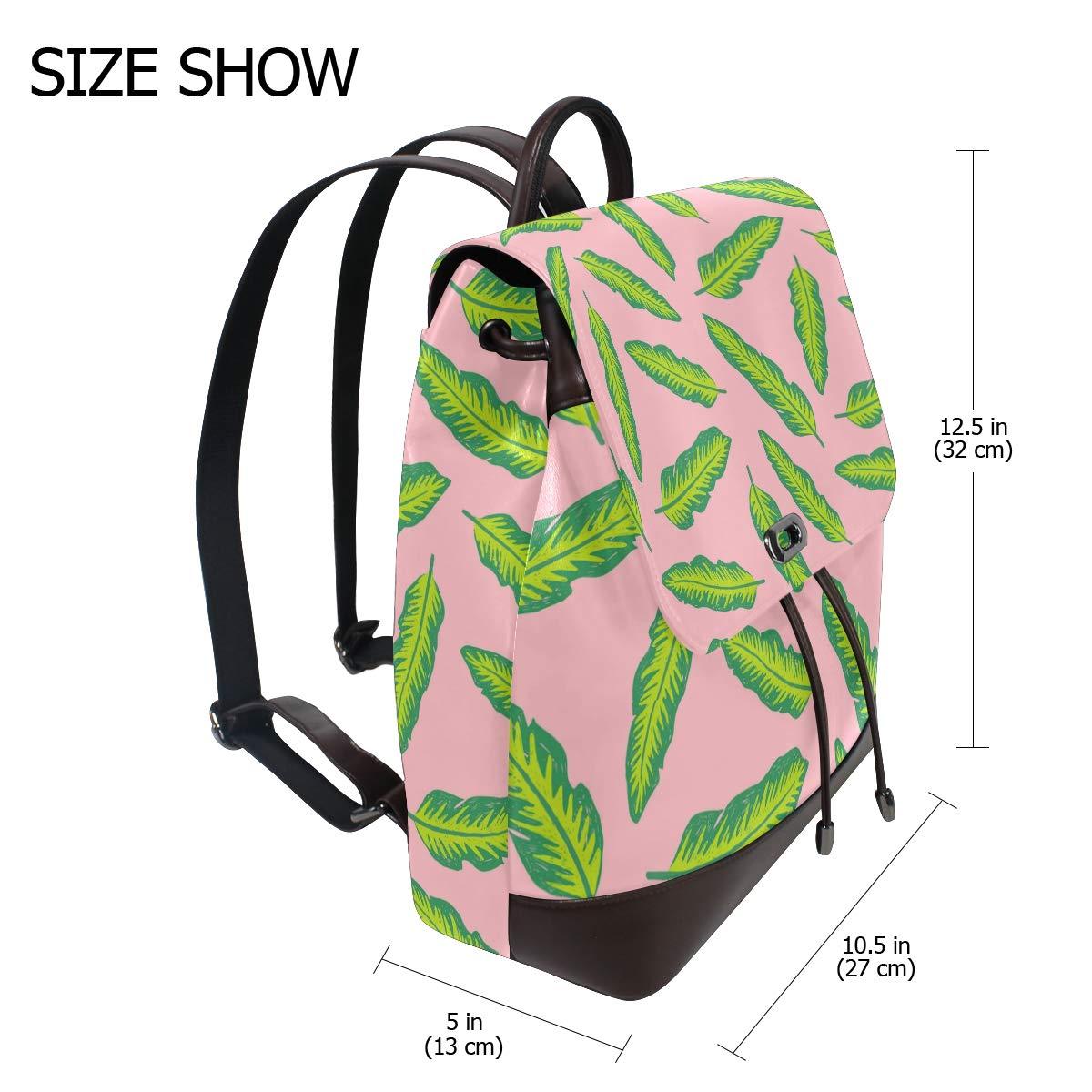 Fashion Shoulder Bag Rucksack PU Leather Women Girls Ladies Backpack Travel Bag Colourful Tropical Leaves Decals