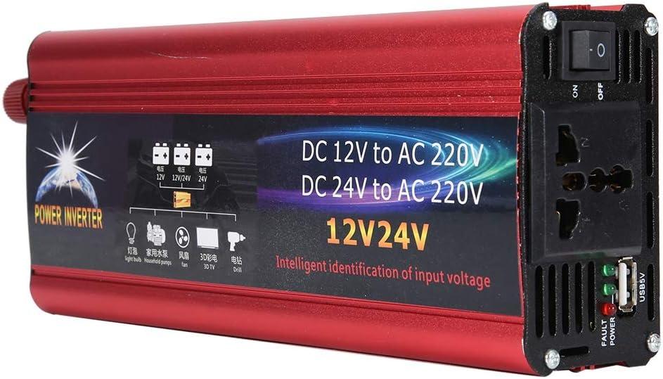 Duokon Car Inverter,Universal 12V 24V Car Solar Power 6000W Inverter Converter 12V to 220V