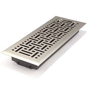 Accord AMFRSNB412 Floor Register with Wicker Design, 4-Inch x 12-Inch(Duct Opening Measurements), Satin Nickel