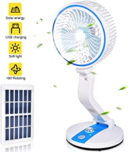 USB Desk Fan, Adjustable Speed Fan with Night Light, Personal Small Desktop Table Quiet USB Fan, Rechargeable Battery USB & Solar Powered for Home Office Car Outdoor Travel