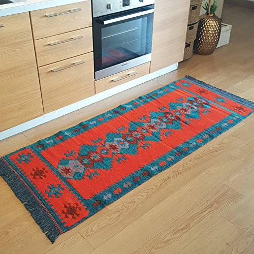 Secret Sea Collection, Modern Bohemian Style Area Rug & Runner, 2.5 x 6 ft, Cotton, Washable, Reversible (Turquoise-Black)