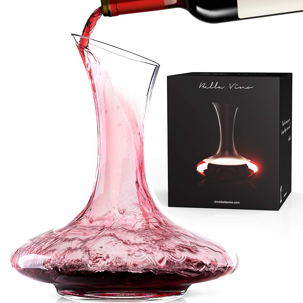 Bella Vino Wine Decanter, 100% Lead-Free Hand Blown Crystal Glass, Red Wine Carafe, Wine Aerator with Wide Base,Wine Accessories,Wine Gift