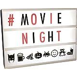 Nuovo, migliorato A4Nero Cinematic Lightbox ora con 120lettere, numeri e simboli, ideale per matrimoni o film Fan di Rossi e Neri